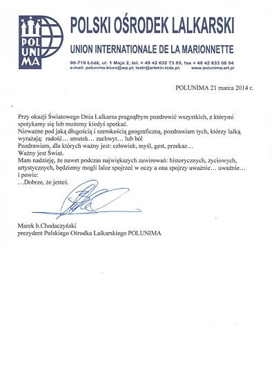list Prezydenta Polunimy Marka Chodaczyńskiego
